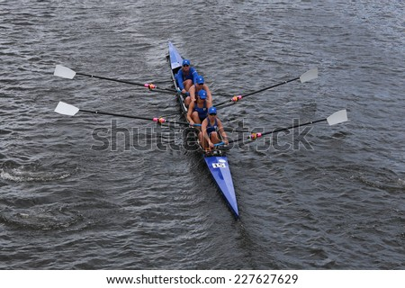 BOSTON - OCTOBER 19, 2014: Duke University races in the Head of Charles Regatta women's Championship Fours - stock photo