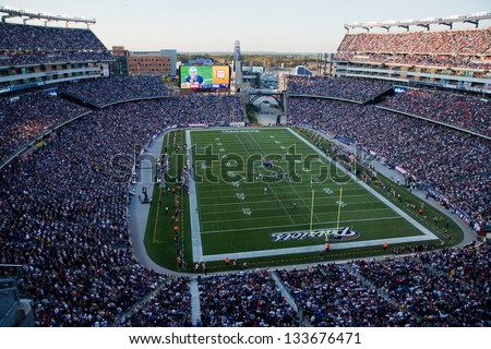 BOSTON - OCTOBER 16: Elevated view of Gillette Stadium home of Super Bowl champs, New England Patriots on October 16, 2011 in Foxborough, Boston, MA - stock photo