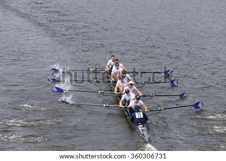 BOSTON - OCTOBER 18, 2015: Georgetown races in the Head of Charles Regatta Men's Master Eights [PUBLIC RACE]