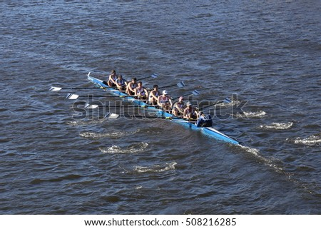 BOSTON - OCTOBER 22, 2016: Grand Valley  races in the Head of Charles Regatta Men's College Eights [PUBLIC RACE]