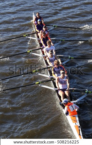 BOSTON - OCTOBER 22, 2016: Hobart College races in the Head of Charles Regatta Men's College Eights [PUBLIC RACE]