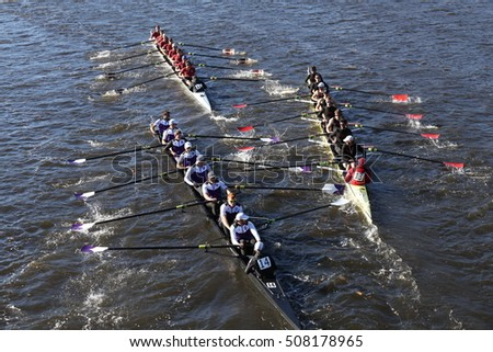 BOSTON - OCTOBER 23, 2016: Holy Cross (left) Boston College (middle)  get tangled up in a crash in the Head of Charles Regatta Men's Collegiate Eights [PUBLIC RACE]
