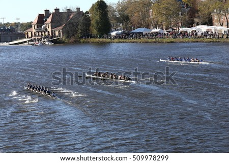 BOSTON - OCTOBER 22, 2016:  Ithaca (left) Colorado (middle) Coast Guard Academy (right) races in the Head of Charles Regatta Men's College Eights [PUBLIC RACE]