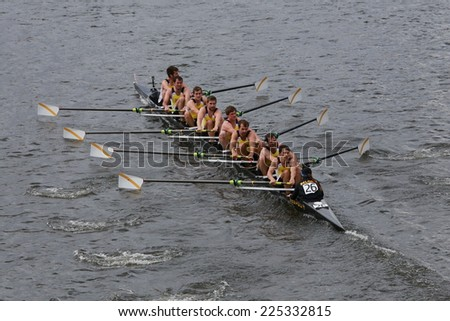 BOSTON - OCTOBER 19, 2014: Krns Osstesnde Belgium races in the Head of Charles Regatta Men's Championship Eights, Craftsbury Sculling Center won with a time of 14:20