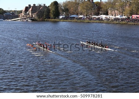 BOSTON - OCTOBER 22, 2016:  Laga (left) UMass Amherst (right) races in the Head of Charles Regatta Men's College Eights.  Laga won the race. [PUBLIC RACE]