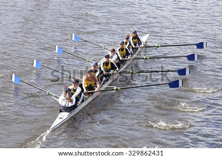 BOSTON - OCTOBER 18, 2015: Long Beach Junior Crew races in the Head of Charles Regatta Women's Youth Eights [PUBLIC EVENT] - stock photo