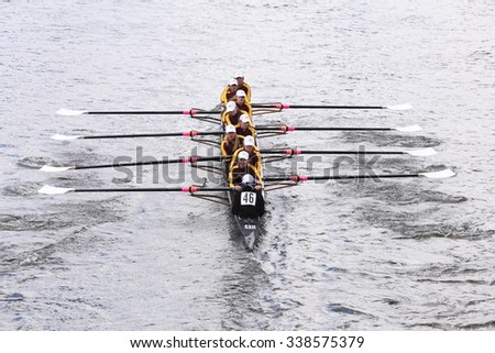 BOSTON - OCTOBER 18, 2015: Loyola Academy  races in the Head of Charles Regatta Women's Youth Eights [PUBLIC RACE] - stock photo