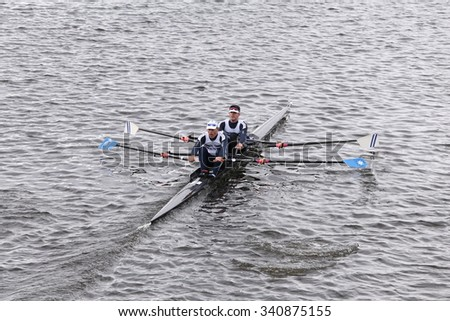 BOSTON - OCTOBER 18, 2015: Malta/NARR - Composite races in the Head of Charles Regatta Men's Master Doubles [PUBLIC RACE]