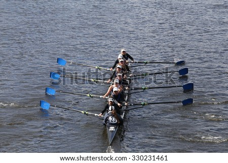 BOSTON - OCTOBER 18, 2015: Milwaukee races in the Head of Charles Regatta Women's Youth Eights - stock photo