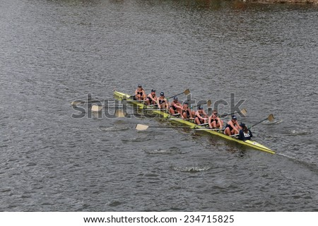 BOSTON - OCTOBER 19, 2014: Notre Dame University races in the Head of Charles Regatta Women's Championship Eights - stock photo