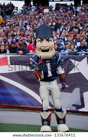 BOSTON - OCTOBER 16: Pat Patriot Mascot for the New England Patriots NFL Football Team at Gillette Stadium, New England Patriots vs. the Dallas Cowboys on October 16, 2011 in Foxborough, Boston, MA - stock photo