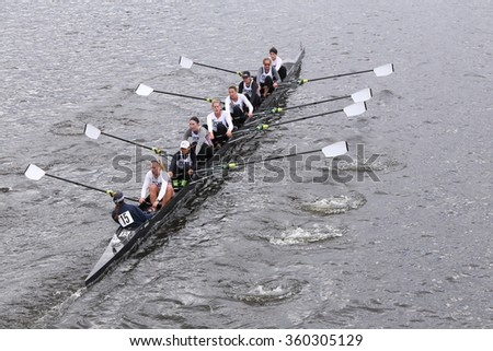 BOSTON - OCTOBER 18, 2015:  Penn races in the Head of Charles Regatta Women's Master Eights [PUBLIC RACE]