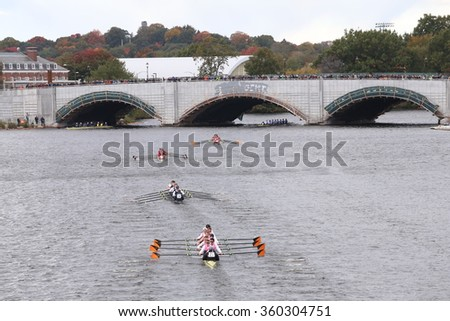 BOSTON - OCTOBER 18, 2015: Princeton (bottom), Oxford (2nd) , Stanford(3rd), ORCA (4th) and Thames (top)  races in the Head of Charles Regatta Men's Master Eights [PUBLIC RACE]