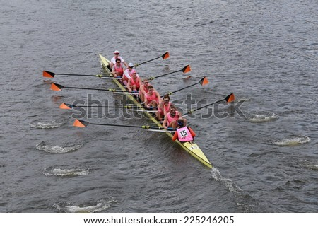 BOSTON - OCTOBER 19, 2014: Princeton University races in the Head of Charles Regatta Men's Championship Eights, Craftsbury Sculling Center won with a time of 14:20 - stock photo