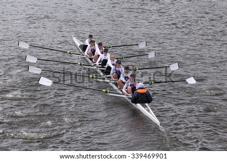 BOSTON - OCTOBER 18, 2015: Putney High races in the Head of Charles Regatta Women's Youth Eights [PUBLIC RACE] - stock photo
