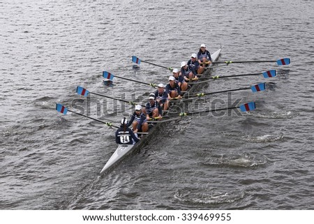 BOSTON - OCTOBER 18, 2015: Riverside  Boat Club races in the Head of Charles Regatta Women's Youth Eights [PUBLIC RACE] - stock photo