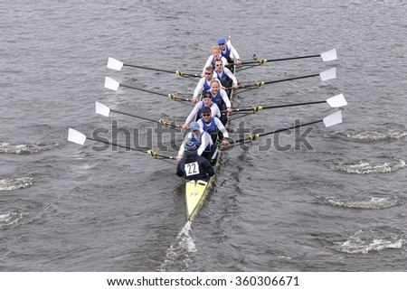 BOSTON - OCTOBER 18, 2015: RTHC Bayer Leverkusen races in the Head of Charles Regatta Men's Master Eights [PUBLIC RACE]