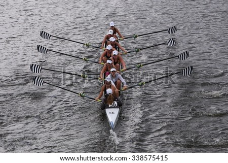 BOSTON - OCTOBER 18, 2015: Saratoga  races in the Head of Charles Regatta Women's Youth Eights [PUBLIC RACE] - stock photo