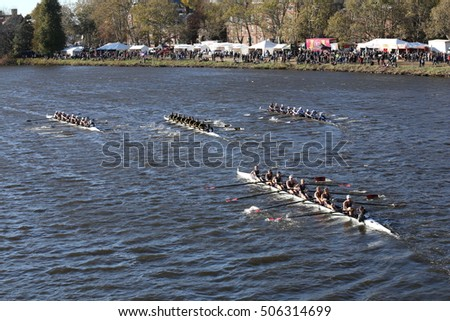 BOSTON - OCTOBER 23, 2016: SUNY Geneseo (top left) Colorado  (top rmiddle_ JWU (top right) and Illinois(bottom) races in the Head of Charles Regatta s [PUBLIC RACE]
