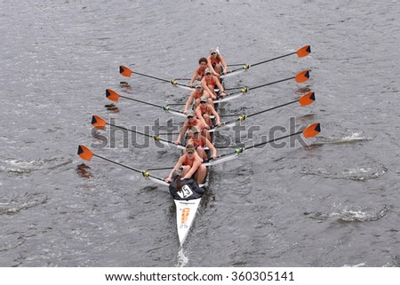BOSTON - OCTOBER 18, 2015: Syracuse races in the Head of Charles Regatta Women's Master Eights [PUBLIC RACE]