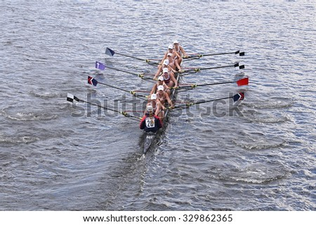 BOSTON - OCTOBER 18, 2015: TBC Racing races in the Head of Charles Regatta Women's Youth Eights