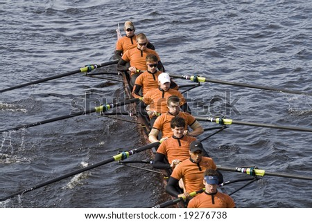 BOSTON - OCTOBER 19:  The University of Texas Men's Rowing Team race in the In the Head of Charles Regatta, on October 19th 2008, placing 15th.