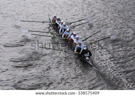 BOSTON - OCTOBER 18, 2015: Tulsa Youth races in the Head of Charles Regatta Women's Youth Eights [PUBLIC RACE] - stock photo