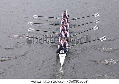 BOSTON - OCTOBER 18, 2015: University of Connecticut races in the Head of Charles Regatta Women's Master Eights [PUBLIC RACE]