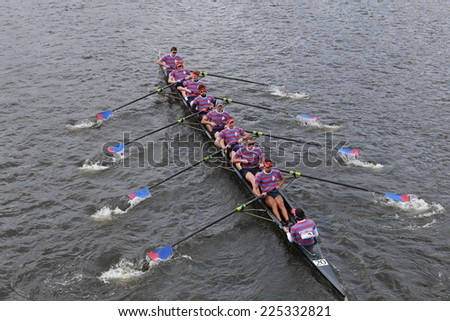 BOSTON - OCTOBER 19, 2014: University of Pennsylvania races in the Head of Charles Regatta Men's Championship Eights, Craftsbury Sculling Center won with a time of 14:20 - stock photo