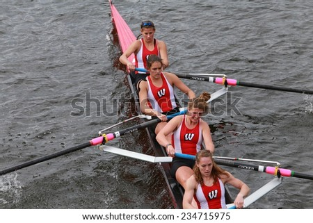 BOSTON - OCTOBER 19, 2014: University of Wisconsin races in the Head of Charles Regatta Women's Championship Eights