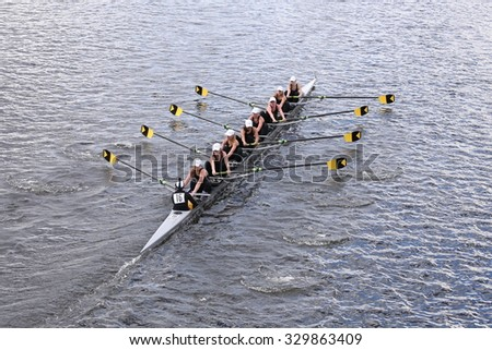 BOSTON - OCTOBER 18, 2015: Upper Arlington races in the Head of Charles Regatta Women's Youth Eights [PUBLIC EVENT] - stock photo