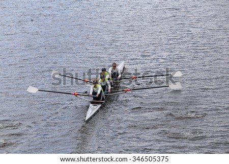 BOSTON - OCTOBER 18, 2015: USA Women races in the Head of Charles Regatta Women's Youth Fours [PUBLIC RACE]