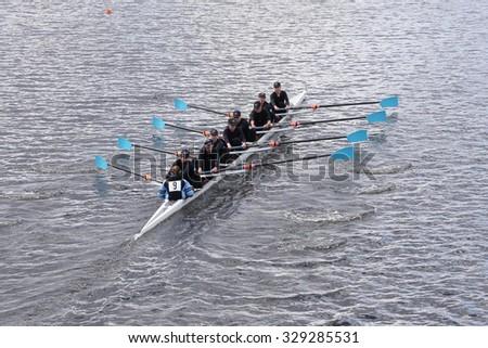BOSTON - OCTOBER 18, 2015: Vashon Island races in the Head of Charles Regatta Women's Youth Eights - stock photo