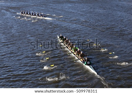 BOSTON - OCTOBER 22, 2016:   vermont (bottom) UC San Diego (top) races in the Head of Charles Regatta Men's College Eights [PUBLIC RACE]