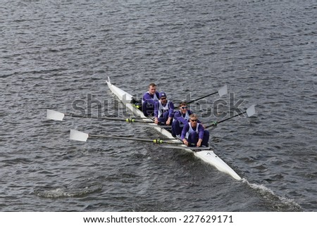BOSTON - OCTOBER 19, 2014: Washington Univerisity races in the Head of Charles Regatta Men's Championship Fours - stock photo