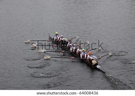 BOSTON - OCTOBER 24:  Women's Crew  competes in the Head of the Charles Regatta  on October 24, 2010 in Boston, Massachusetts.