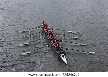 BOSTON - OCTOBER 19, 2014: Yale  University races in the Head of Charles Regatta Men's Championship Eights, Craftsbury Sculling Center won with a time of 14:20 - stock photo