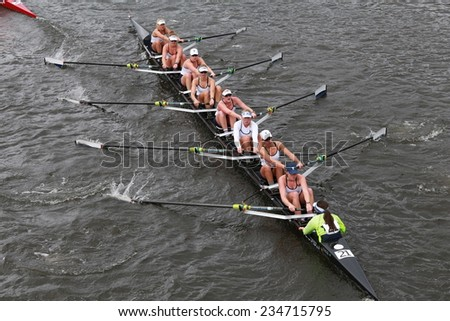 BOSTON - OCTOBER 19, 2014: Yale University races in the Head of Charles Regatta Women's Championship Eights - stock photo