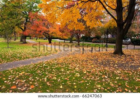 Boston Public Garden in the Fall Season. - stock photo