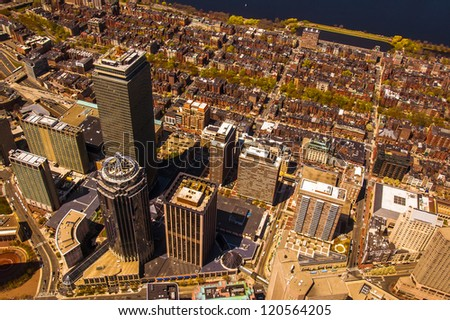 Boston's Back Bay area and downtown from the air - stock photo