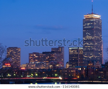 Boston's Back Bay skyline and Charles River at dusk - stock photo