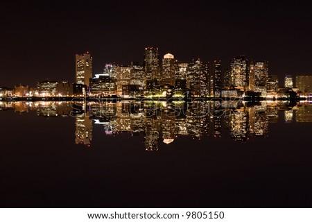 boston's skyline at night - stock photo