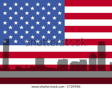 Boston skyline against American Flag illustration - stock photo