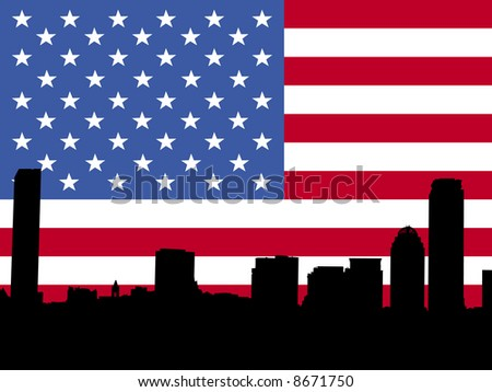 Boston skyline against American Flag illustration JPG - stock photo