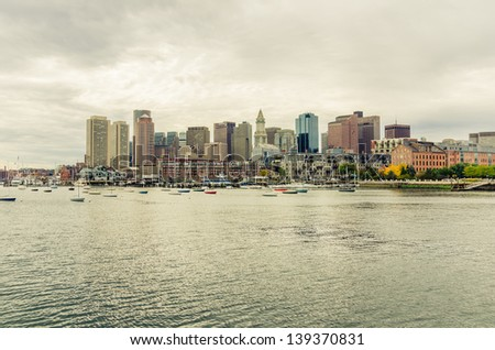 Boston Skyline and Cloudy Sky - stock photo