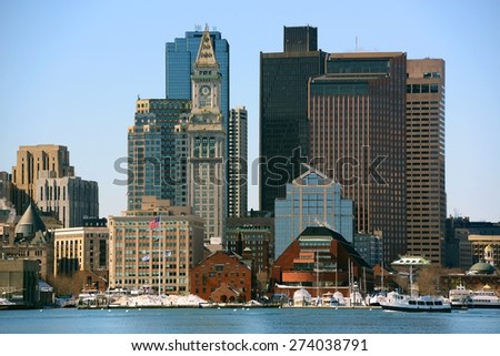 Boston Skyline and Custom House from East Boston, Massachusetts, USA - stock photo