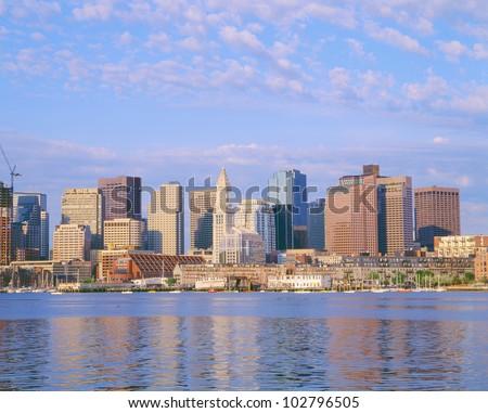 Boston Skyline and Harbor, Massachusetts - stock photo