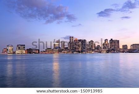 Boston skyline at dusk - stock photo