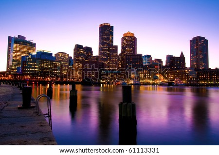 Boston Skyline at Dusk in Massachusetts - USA. - stock photo