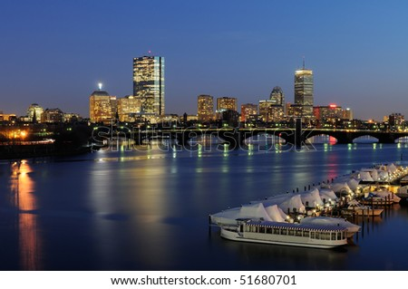Boston skyline at night - Subway crossing Longfellow Bridge - stock photo